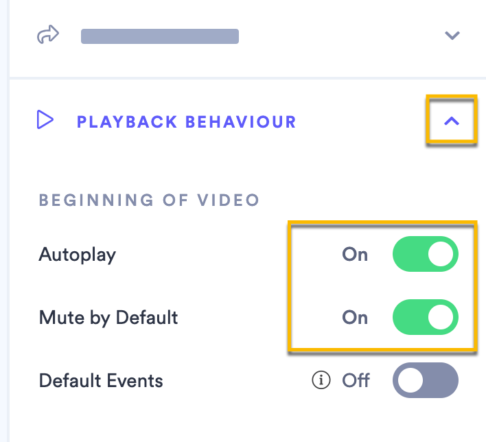 Switching both the Autoplay and Mute by Default toggle settings to ON