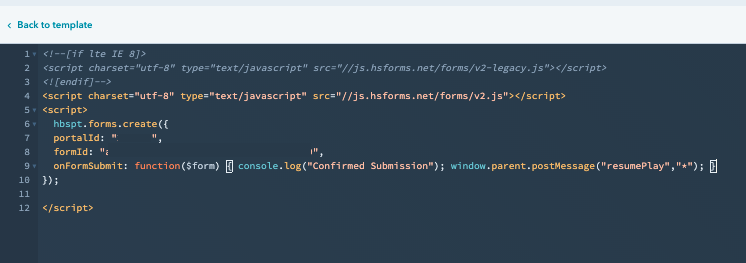 Additional code has been added to the embed code for the form. Add it after the formId and before the closing brackets.