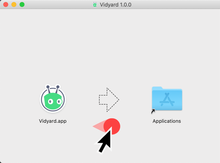 Moving the Vidyard app file into your Applications Folder to install