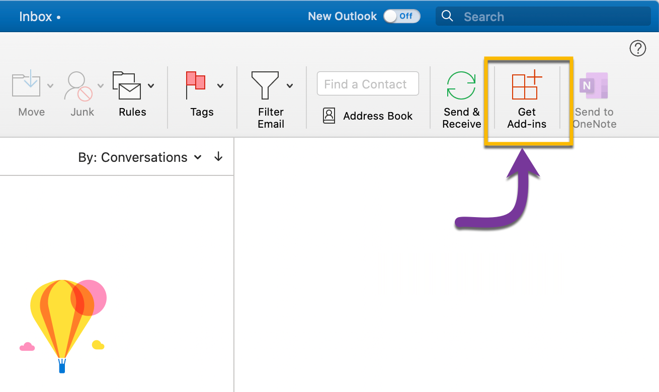 Select the Get Add-ins bottom directly from your Outlook account