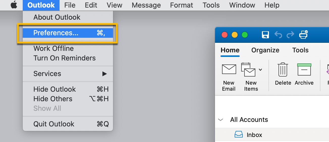 On Outlook for Mac, opening your email preferences