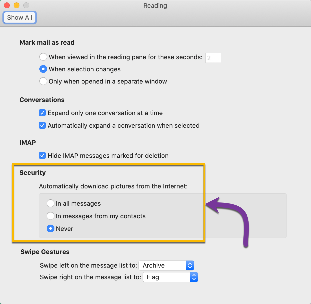 Changing the security setting in your preferences to allow for automatic picture downloads in emails