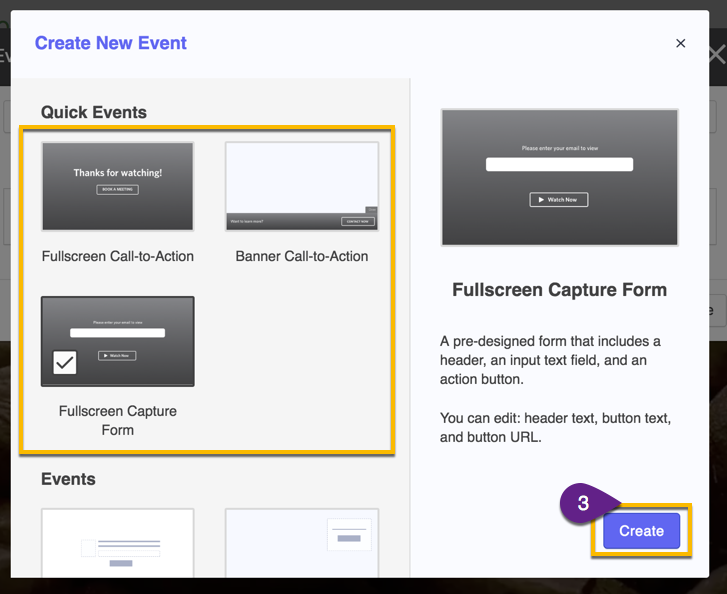 "Select an event type from the ""new event"" screen"