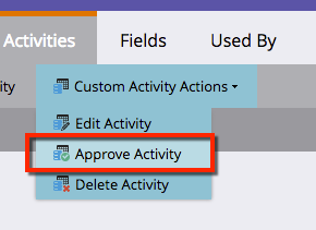 Under the Custom Activity Actions button is the Approve Activity button.
