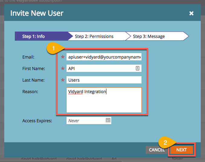 Steps in Marketo to create new users; image indicates information to provide, including email address, first and last name