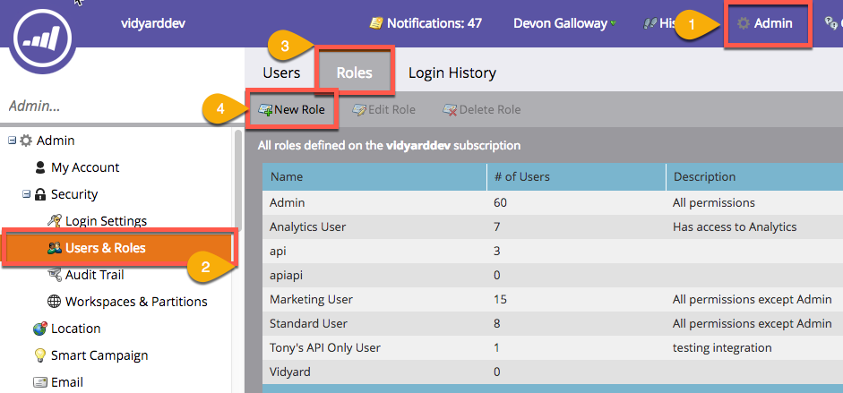 Steps from Marketo dashboard to create a new api-only role