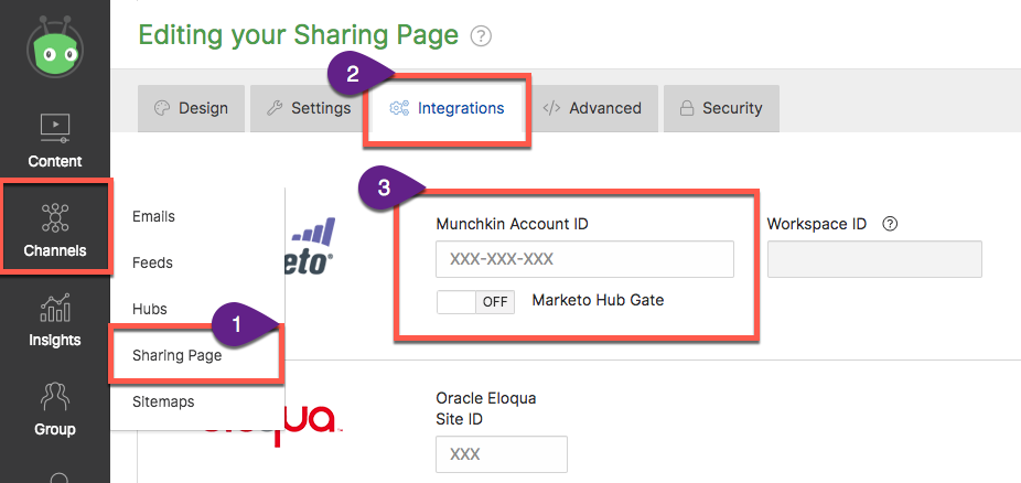 Steps to add Marketo Munchkin ID to your Vidyard sharing page