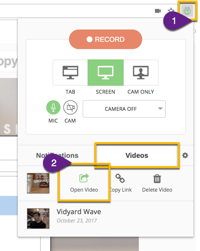 Opening the editable sharing page or a video within the GoVideo Chrome extension