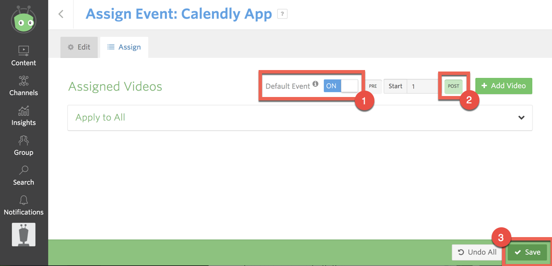 Assigning your Calendly event as a post-roll default to all videos