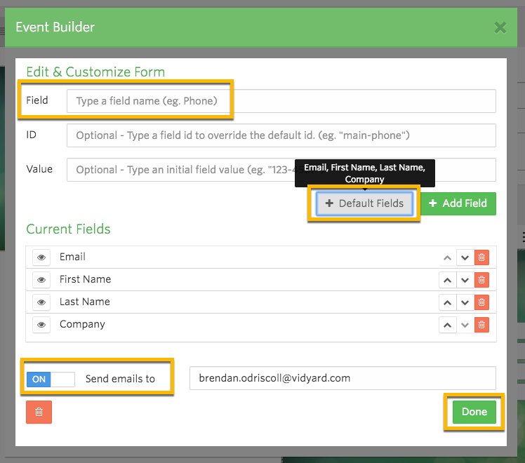 Vidyard form builder interface, options to create and order different information fields