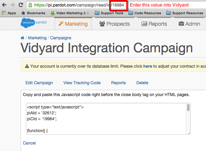 Campaign ID in the URL of a Pardot campaign