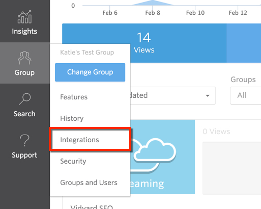 Integrations tab within the Group menu