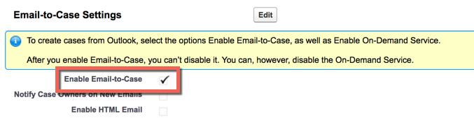 Enable Email-to-Case button
