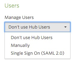Manage Users dropdown list