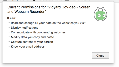 List of permissions that the Vidyard Chrome extension requires