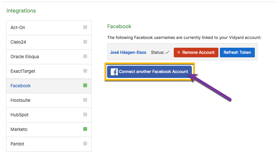 Facebook integration page with option to connect multiple Facebook accounts