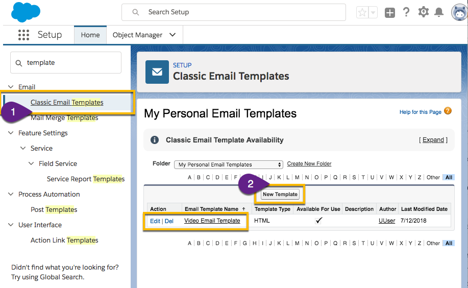 Steps in Salesforce to create or edit an email template