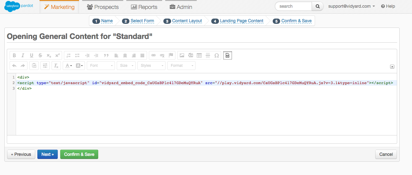 The Pardot Landing Page editor with a Vidyard embed code.