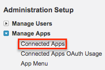 Administration Setup menu> Manage Apps > Connected Apps.