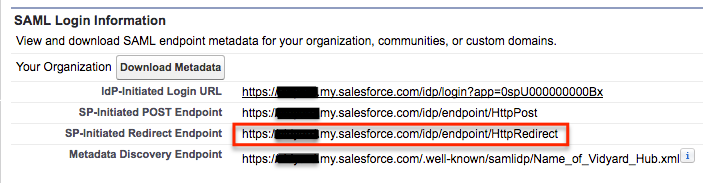 SP-Initiated Redirect Endpoint is found under SAML Login Information.