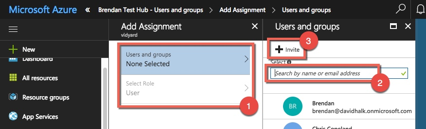 Steps to find either existing users in Azure or to invite external users to Azure so that they can be assigned to an application
