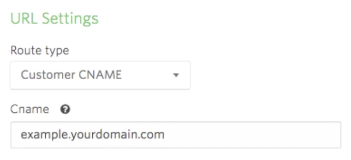 Showing the CNAME example in Vidyard