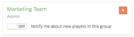 Toggle Notify me about new player in this group is OFF.