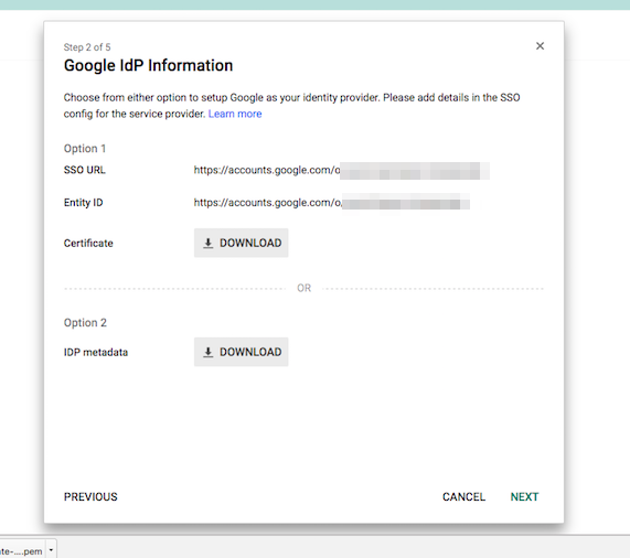 The Google IdP information is displayed.