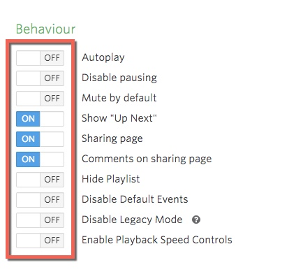 Behavior settings options. To the left of each setting label is an ON/OFF toggle switch.