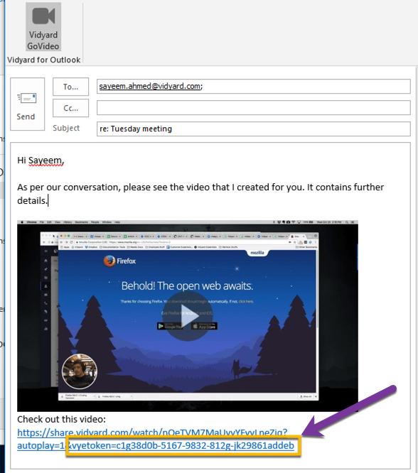 The vyetoken appended to the URL of video inserted into the Outlook email compose window
