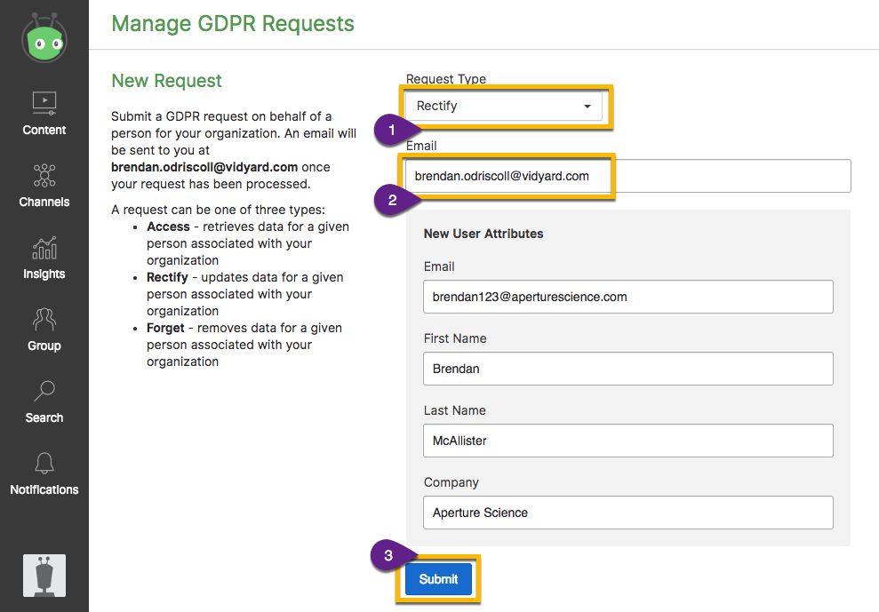 GDPR Request interface in Vidyard. Options to submit an access, rectify or forget request.