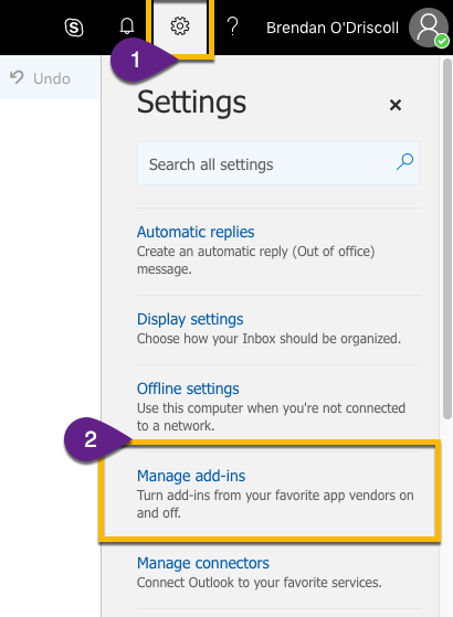 Steps in Outlook web application to navigate to the Microsoft Store (settings > manage add-ins)