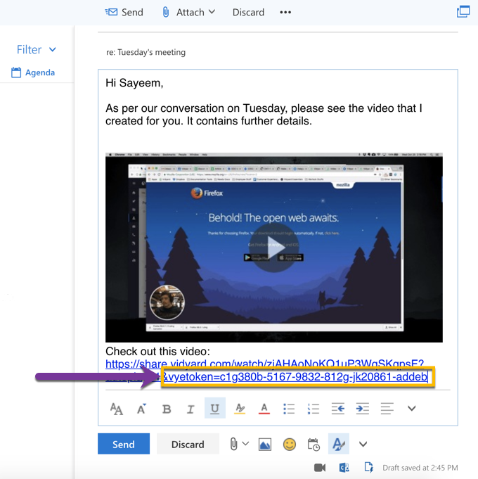 Example of a clickable video thumbnail as well as the sharing page URL with appended vyemail string