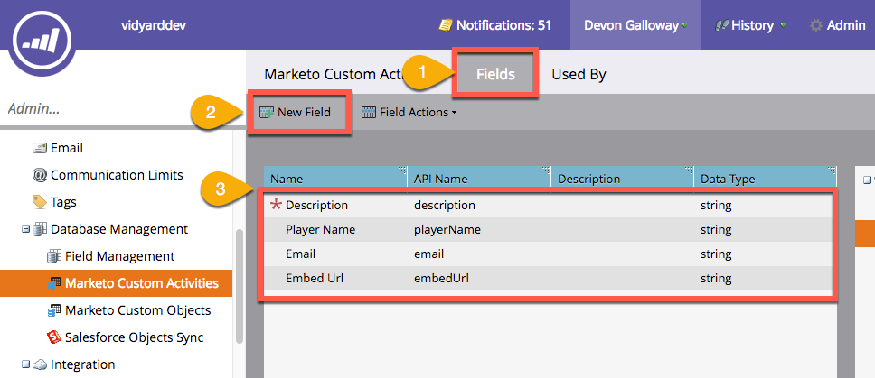 Steps in Marketo Admin Console to create to fields for Vidyard Lead Conversion custom activity