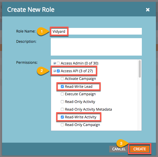 Interface used to create a new role in Marketo, includes field for Role Name and choice of role permissions
