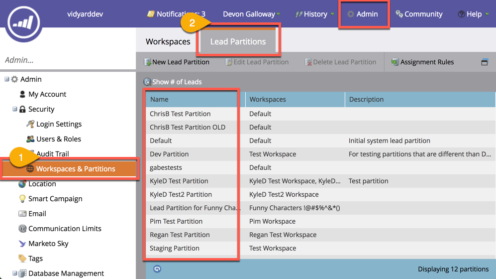 Steps in Marketo admin interface to find the name of your workspace partitions