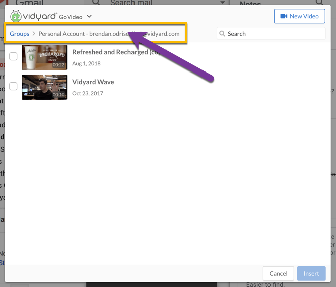 Using the groups dropdown menu in the GoVideo app to access shared content