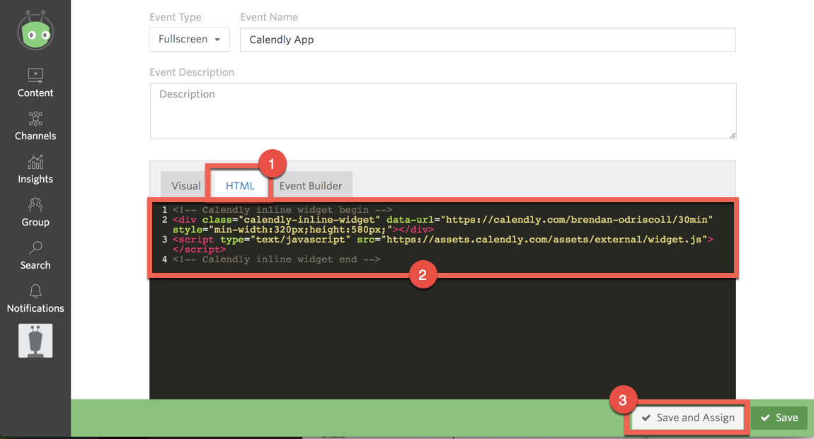 Demonstrating how to paste embed code taken from Calendly into Vidyard event builder