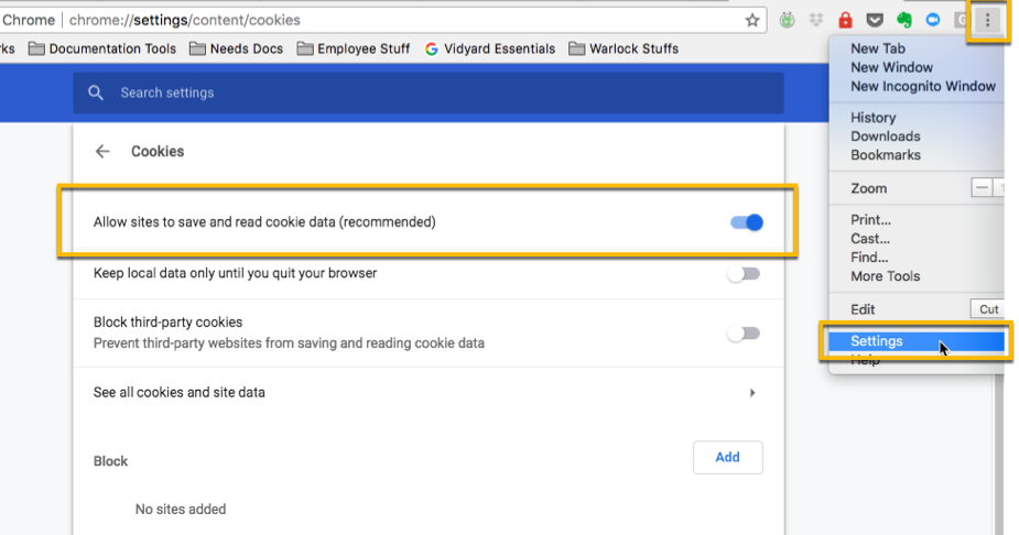 Steps in Google Chrome settings to allow the browser to read cookie data