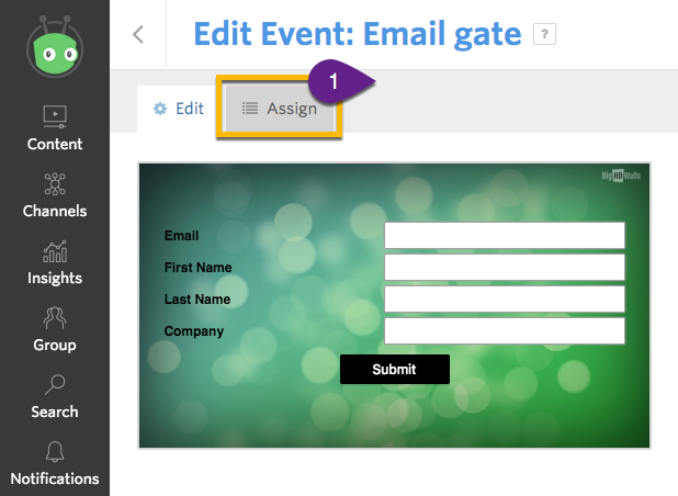 Event editor interface, indicating the where to find the Assign button