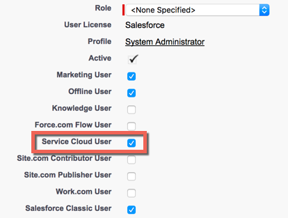 Service Cloud User option to apply a license