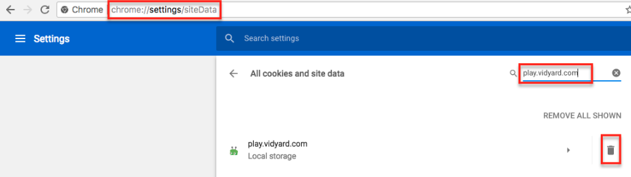 on settings.siteData type play.vidyard.com and hit trash