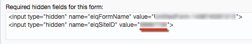 Showing where the Site ID is displayed, in the form field after value=""