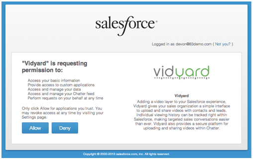 Screen to allow or deny Vidyard permission to access Salesforce