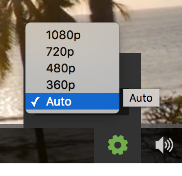 Resolution options on the Vidyard player control bar