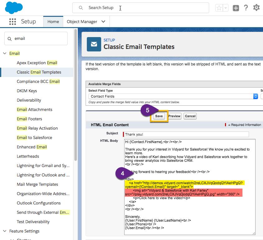 Create a Vidyard HTML email template in Salesforce – Vidyard Support