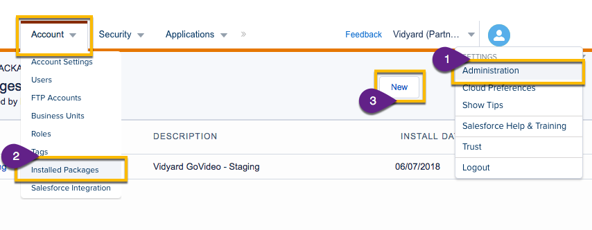 Admin interface in SFDC Marketing Cloud; steps to install a new app package