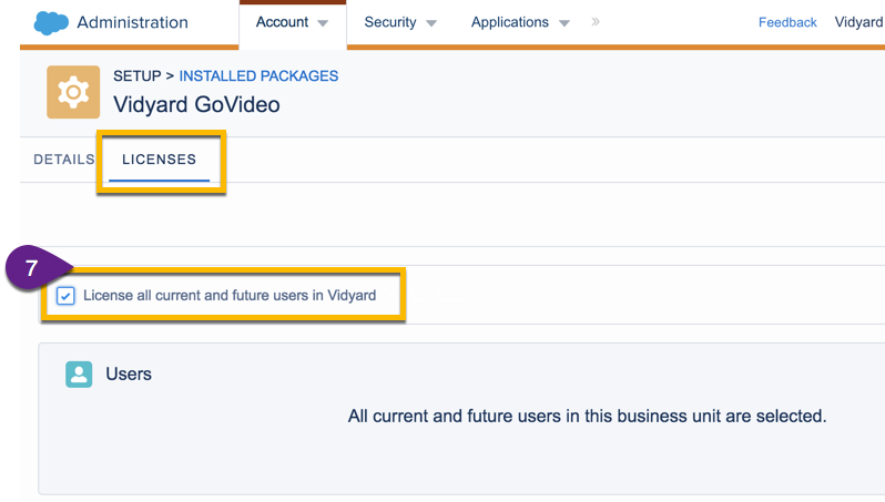 Licenses tab for your newly installed GoVideo app; option to apply license to all current and future users
