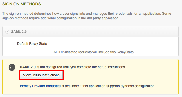 View Setup Instructions in Okta
