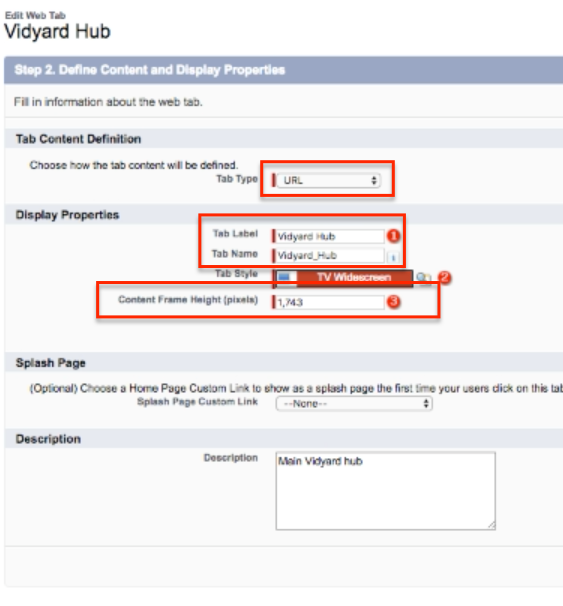 Defining Content and display properties for Salesforce Hubs.
